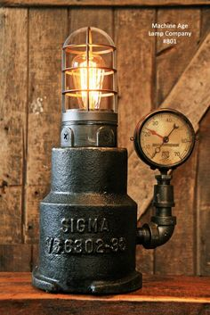 Steampunk Industrial Light House Lamp, Steam Gauge - #801 - SOLD