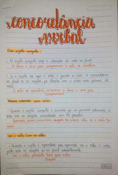 Resumo sobre Concordância Verbal 1/4 Lettering Tutorial, Canal E, Work Hard, Language, Bullet Journal, Study, Education, School, Tips