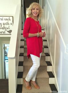Fashion over 50: Red jersey top from Soft Surroundings.