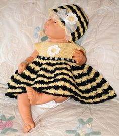 Bumble Bee Dress Pattern, 0-3 mos.  Also looks nice with a single solid color.