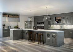 Stort kjøkken (Sigdal) Grey Cabinets, Kitchen Island, Interior Design, Storage, Table, Inspiration, Furniture, Home Decor, Traditional Kitchens
