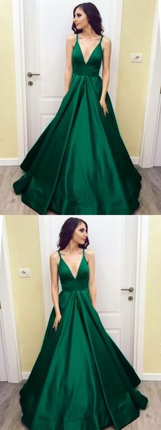 dark green prom dress,emerald green prom dress,satin evening