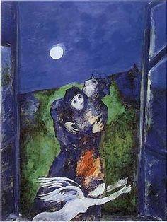 Marc Chagall - Lovers in the Moonlight ۩۞۩۞۩۞۩۞۩۞۩۞۩۞۩۞۩ Gaby Féerie créateur de…