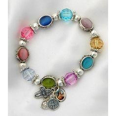 Colorful Pandora-style rosary bracelet. $20.95 #CatholicCompany