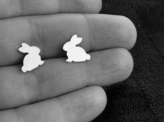 Bunny Rabbit Earrings Studs Hypoallergenic Steel. $9.00, via Etsy.