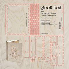 cartonus.com/book-box/  Wooden book box with sliding bolt latch. Laser cut vector model. Project plan for laser cutting.