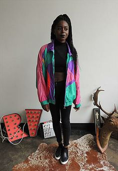 80s Hip Hop 90s Rave- Vintage Windbreaker/Bomber Jacket ...