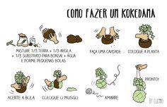 """Kokedama: o que é e como fazer - tutorial passo-a-passo - o arranjo """"bola de musgo"""" http://www.dcoracao.com/2015/02/kokedama-o-que-e-e-como-fazer-passo.html"""