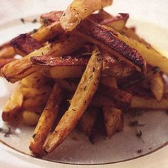 Oven Fries Recipe Lunch and Snacks, Appetizers, Side Dishes with potatoes, olive oil, fresh thyme, salt, freshly ground pepper
