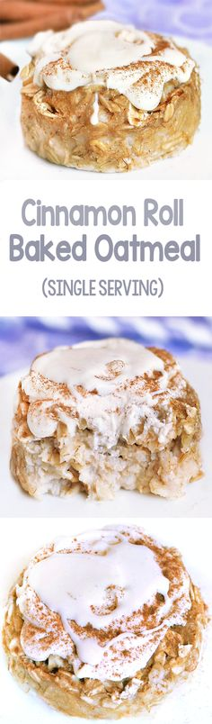 Gooey Cinnamon Roll Baked Oatmeal, SINGLE SERVING, and frosted with vegan cream cheese