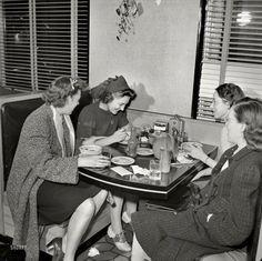 "Girls' Night Out: 1941  December 1941. Washington, D.C. ""Washington Hot Shoppe restaurant."" Photo by John Collier.View full size."