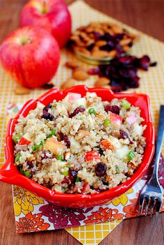 Apple Almond Quinoa with Maple Sausage is packed with sweet and savory autumnal flavors, perfect for a light lunch, supper, or side.  #glutenfree | iowagirleats.com
