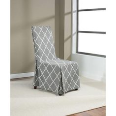 Sure Fit Lattice Dining Room Chair Cover Gray
