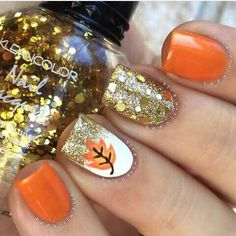 Fall glam✨ Products used: ▪️Orange - Sinful Colors Cloud 9 ▪️Gold Glitter - Julep Andrea ▪️Chunky Gold - Kleancolor Tiara Gold (placed) ✨ Tutorial coming soon Fancy Nails, Love Nails, Diy Nails, Pretty Nails, Fall Nail Art Designs, Cute Nail Designs, Orange Nail Designs, Fall Designs, Autumn Nails