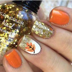 Fall glam✨ Products used: ▪️Orange - Sinful Colors Cloud 9 ▪️Gold Glitter - Julep Andrea ▪️Chunky Gold - Kleancolor Tiara Gold (placed) ✨ Tutorial coming soon Fall Nail Art Designs, Cute Nail Designs, Orange Nail Designs, Fall Designs, Seasonal Nails, Holiday Nails, Fancy Nails, Pretty Nails, Nail Polish