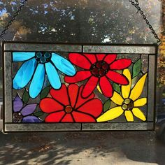 Large flowers stained glass window hanging