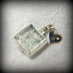Diamond Necklace, Glass Locket,  Necklace, Bride Jewelry, Genuine Diamonds, Anniversary Jewelry, Personalized, Diamond, Sterling, L16