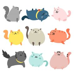 trendy ideas funny art for kids free printable Cat Character, Character Design, Chats Tabby, Silhouette Chat, Gato Anime, Cat Party, Cat Stickers, Fat Cats, Cat Drawing