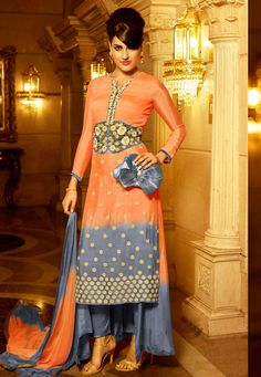 """#Ganesh #Chaturthi #Special #Tangerine #color for #Thursday ! """"#Orange And #Grey Georgette kameez designed with Heavy Zari,Resham Embroidery With Stone Work And Lace Border Work. Available with #Grey #Santoon Bottom with matching #Chiffon Dupatta. This Semi Stitch kameez can be customized upto 46""""""""  inches. INR : 2523.00 Only With #Flat #Discounts Grab at http://tinyurl.com/h6omgly #Dresses #Trending #Fashion #SalwarKameez #Suit #GreyAndOrange #IndianWear #Festivals #Occassion #Celebratio"""