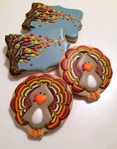 Thanksgiving cookies, turkey cookies, fall tree cookies
