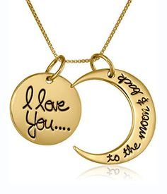 I Love You To The Moon and Back Gold Pendant Necklace – JaeBee Jewelry