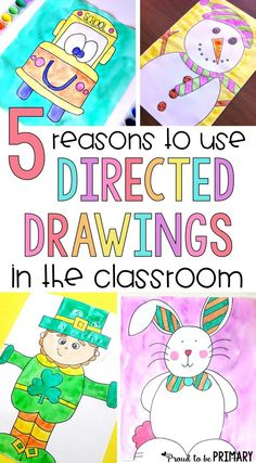 Every teacher should be using directed drawings in the classroom! These art activities for kids not only produce great results and build listening skills, they are fun and build confidence too. This is the ultimate source for step by step tutorials and di