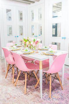 Pretty in pink office decor: Photography: Sean Litchfield - http://seanlitchfield.com/