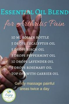If you suffer with arthritis pain, you MUST try this blend: it works miracles. It includes eucalyptus, birch, peppermint, lavender and rosemary oils: some will help with inflammation, some with pain and others will help you relax. Gently massage in your painful areas twice a day.