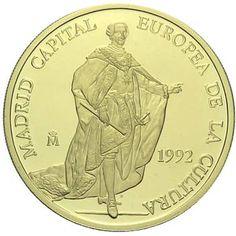 Moneda de oro 100 ECU Carlos III 1992., Tienda Numismatica y Filatelia Lopez, compra venta de monedas oro y plata, sellos españa, accesorios Leuchtturm