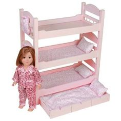 Black Friday 2014 18 Inch Doll Triple Bunk Bed - Furniture Made to Fit American Girl or Other Dolls from Emily Rose Doll Clothes Doll Bunk Beds, Kids Bunk Beds, Doll Furniture, Furniture Making, Girls Furniture, Dollhouse Furniture, Baby Doll Bed, Baby Beds, American Girl Furniture