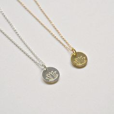 Lotus necklace  gold vermeil or sterling silver by littleglamour