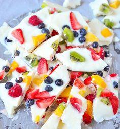 Frozen Yogurt Fruit Bark | 12 Homemade Fruit Snacks Your Kids Will Adore | Creative and Healthy Homemade DIY Snacks : http://homemaderecipes.com/12-homemade-fruit-snacks/