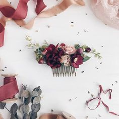 Fall Burgundy floral Hair comb Deep red Bridal hair comb #weddingmakeupandhair