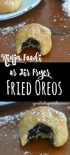 These Ninja Foodi or Air Fryer Fried Oreos are so warm and delicious. Made in just 5 minutes with barely any mess. You can eat these whenever you want! Pin for Later! # oreo Desserts Ninja Foodi or Air Fryer Fried Oreos Air Fryer Recipes Wings, Air Fryer Recipes Appetizers, Air Fryer Recipes Vegetarian, Air Fryer Recipes Snacks, Air Fryer Recipes Low Carb, Air Frier Recipes, Air Fryer Recipes Breakfast, Vegetarian Appetizers, Recipes