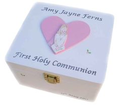 Personalised Boys First Holy Communion Money Box Blue Wooden With Name For Nephew Brother Grandson Son Keepsake F