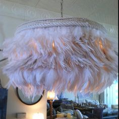 shabby chic pink feather chandelier (I need to make this)