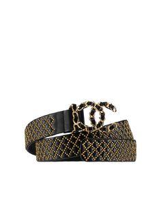 Cinturón de cuero, piel de ternera, metal dorado y strass-negro - CHANEL