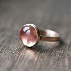 Oregon Sunstone Ring, Apricot Peach Pink Round Gemstone Gold Ring Peach Stone Ring Sunstone Jewelry  - Size 6.5 - Firefly