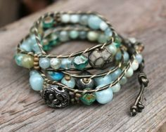 Jewelry I Want to Make Now / Tutorial includes how many inches of cord and how many inches of thread you need to make leather wrap bracelets single through 5 wraps.. From Lima beads