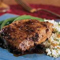 Balsamic-Plum Glazed Pork Chops | MyRecipes.com - Port wine, plum preserves, and balsamic vinegar combine for a sweet and savory glaze for these juicy pork chops. Couscous and green beans complete the meal.