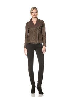 50% OFF Nicole Miller Women\'s Leather Jacket (Brown)