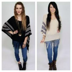 Without Boarders Fringe Poncho #weheartit #loveit #love #studio1220 #poncho #socalbohochicandbeyond http://www.studio1220.com/this-just-in/without-borders-fringe-poncho-in-black-imp-5550-blk
