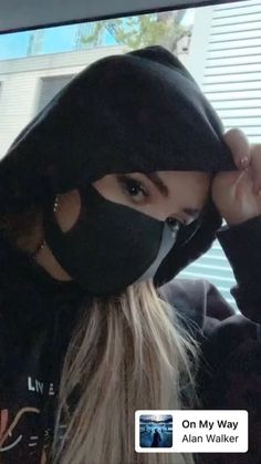 """2019 Sabrina Carpenter is masked in a promotion for Alan Walker's """"On My Way. Girl Pictures, Girl Photos, Chrissy Costanza, Mouth Mask Fashion, Mask Girl, Mask Online, Alan Walker, Selfie Poses, Insta Photo Ideas"""
