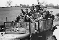 Go on, Miss, do another emergency stop: Evacuees go for a drive in the countryside