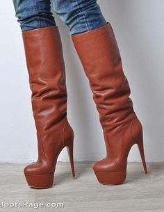 High heeled brown boots - Women Boots And Booties