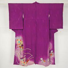 Purple houmongi kimono /【訪問着】紫色花鞠と扇柄