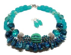 Aqua Statement Necklace, Sea Blue Necklace, Big Bold Chunky Necklace, Gemstone Statement Necklace, Double Strand Artisan Necklace, Fringe Takoda is a necklace and earring set that will take you through Spring and Summer in a breezy ocean blue shade of aqua and deep sea blue. The