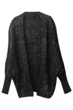 ROMWE | Oversized Sequined Black Coat