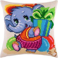 """Купить """"Слонёнок Z-23"""". Производитель: Чарівниця. Раздел: Наборы для вышивки подушек крестом/Вышивание Cross Stitch Designs, Cross Stitch Patterns, Cross Stitch Pillow, Charts And Graphs, Cross Stitch Animals, Kids Pillows, Bargello, Cross Stitching, Blackwork"""