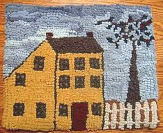 Antique Gold Saltbox  Primitive Rug Hooking by aprimitiverughooker, $49.00